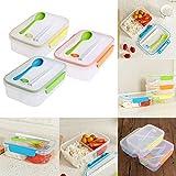 Demiawaking Transparente 3 Fächer Mittagessen Bento Box Essen Snack Container Lagerung