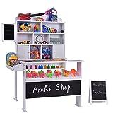 COSTWAY Kaufladen Kaufmannsladen Kinderkaufladen Einkaufsladen Kinder Marktstand Verkaufsstand für Kinder mit Tafel aus Holz