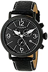 Akribos XXIV AK753BK Swiss Chronograph Date Leather Strap Black Mens Watch
