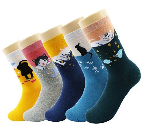 Calcetines de algodón Wacky Calcetines coloreados del tobillo de la historia del regalo de Navidad coloreado |Calcetines Trendy My Story (historia de gato)