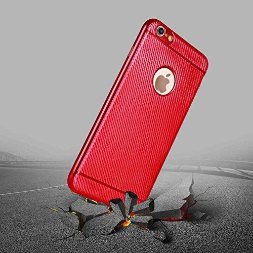 """MOONCASE iPhone 6 Plus/iPhone 6s Plus Coque, Fibre de Carbone Flexible Armure Housse Ultra Slim Anti-éraflure Antichoc Protection Étuis Cases pour iPhone 6s Plus 5.5"""" Red Bleu"""