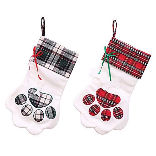 BETTERLE 2Pcs personifizierte Weihnachtsstrumpf-Socken, Pfote-Entwurfs Halter-Beutel-Dekorationen mit Fall-Schleifen, Kamin-Weihnachtsbaum-hängende Verzierungen Neujahrsfest-Dekorationen