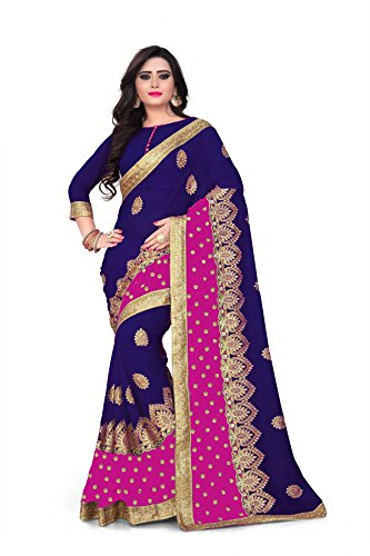 Siddeshwary Fab Women's Women Blue Embrodairy Saree With Blouse Pieace
