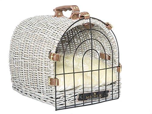 MICHUR PLUTO, scatola di trasporto cane e gatto, cesta per cani e gatti in vimini naturale, midollo, rattan, cuccia, colore grigio, (ca.) 50x37x37cm