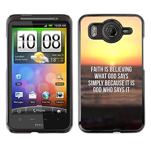 DREAMCASE Bibelzitate Bild Hart Handy Schutzhülle Schutz Schale Case Cover Etui für HTC DESIRE HD / INSPIRE 4G - Glaube glaubt, was Gott sagt, (Inspire Cover Htc)
