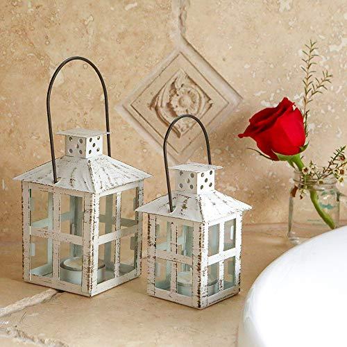 Kate Aspen Vintage-Windlicht für Kerzen, klein, Used-Look, Weiß Vintage, weiße Laterne - klein One Size weiß