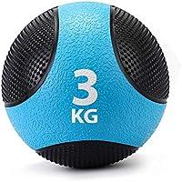ZELUS Balón Medicinal 100% Caucho para el Entrenamiento de Pesas/Fitness/Entrenamiento de Boxeo/Ejercicio Agarre/Musculación (Azul 3kg)