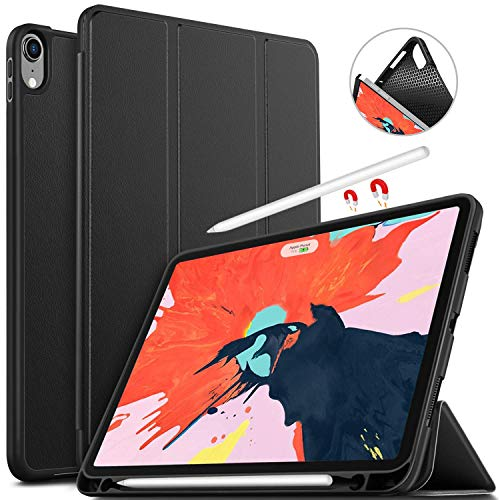 IVSO Hülle für iPad Pro 11, Ultra Schlank Slim Schutzhülle Hochwertiges PU mit Standfunktion Perfekt Geeignet für iPad Pro 11 Zoll 2018 Modell, Schwarz