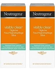 Neutrogena Visibly Clear Tägliche Feuchtigkeitspflege Ölfrei – Klärende Feuchtigkeitscreme mit Salicylsäure für das Gesicht für Tag und Nacht – 2 x 50ml
