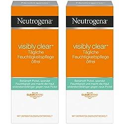 Neutrogena Visibly Clear Tägliche Feuchtigkeitspflege Ölfrei | Klärende Feuchtigkeitscreme mit Salicylsäure für das Gesicht für Tag und Nacht | 2 x 50ml