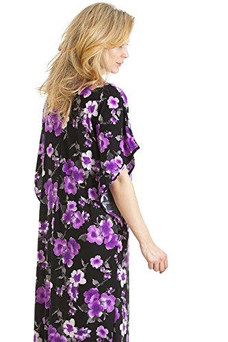 Camille - Caftan long - motif floral - femme - tailles S-XL Purp