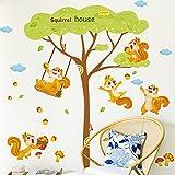 Japace® 2 Conjunto de Lindo Animales Pegatina de Pared Decorativo Murales para Cuartos, Dormitorios, Cocina, Sala