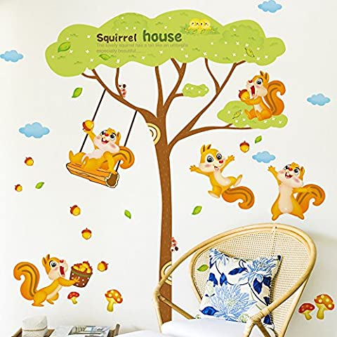 Japace® 2 Conjunto de Lindo Animales Pegatina de Pared Decorativo Murales para Cuartos, Dormitorios, Cocina,