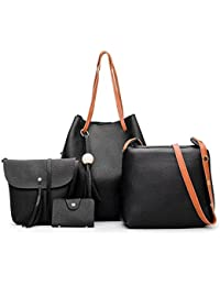 Alibao High Quality Designer PU Leather Women's And Girls Handbag Combo Of 4 Pieces ( Black Color )