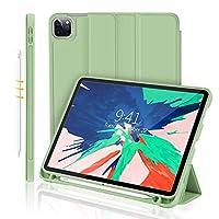 غطاء واقي جديد لجهاز iPad Pro 11 من GrenDesrt 2020، مع حامل قلم [يدعم iPad ثانية/ زوج] غطاء واقي ذكي واقف ثلاثي الطي، للنوم التلقائي (بلون أخضر فاتح)