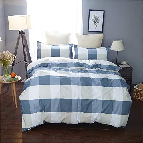 UOUL Bettwäscheset Aus Gewaschener Baumwolle Verblasst Nicht. Spannbetttuch Für Männer Und Frauen,Light Blue,Twin -