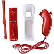 NewBull Motion Plus Remote y Nunchuk Joysticks para Wii y Wii U Games - Rojo