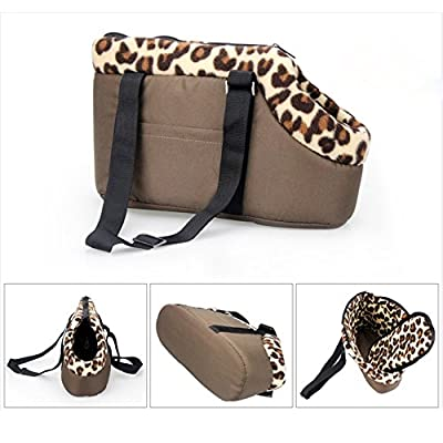 Tping Portable Pet Bag House with Warm Leopard Style Dog Puppy Carrier Travel Tote Shoulder Soft Bag Pink Size S by Tping