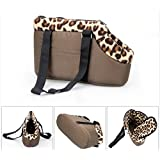 Tping Portable Pet Bag House with Warm Leopard Style Dog Puppy Carrier Travel Tote Shoulder Soft Bag Coffee Size S