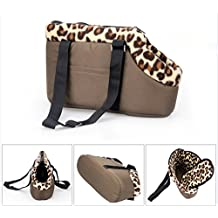 Japace® Transportin Bolsa Bolso para Perro Perrito Gato Mascota Animales con Gancho y Base Blanda Tamaño: 40 * 21* 16cm para el Peso Aprox. 2.4kg (Marrón)