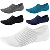 No Show Socks for Men Non Slip Cotton Low Cut Invisible Liners Ankle Socks 5 Pairs (5 Pairs Color 2)
