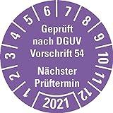LEMAX® Prüfplakette Gepr.nach DGUV Vorschrift 54 2021,violett,Dokufolie,Ø 30mm,18/Bogen