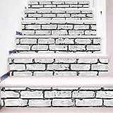 TIANTAI 3D Treppenhaus Aufkleber Weiß Ziegel Muster DIY Renoviert Treppen Aufkleber Selbstklebend Wasserdicht