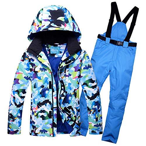 mingliang Tuta da Sci da Uomo Spessi Impermeabili Antivento Invernali Giacca da Snowboard Pantaloni Blue-XXL