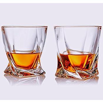 quadro crystal clear stabile whiskey glas tumbler scotch bourbon und mehr set von 2 amazon. Black Bedroom Furniture Sets. Home Design Ideas