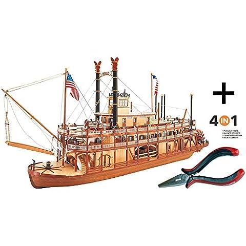 Artesania Latina 22505. Maqueta de barco en madera. Vapor Fluvial Mississippi ll. Escala 1/80 + Multiherramienta 4 en 1