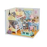 LINAG Puppenhaus Häuser Minipuppen DIY Mini-Szene Zuhause Einrichtung Spielzeug Möbel Village Zubehör Szenenspielzeug Villa Gebäudemodell Geburtstagsgeschenk