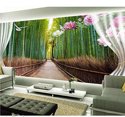 Zybnb Bambus Schöne Landschaft Peach Road 3D Wallpaper Tv Hintergrundbild Das Wohnzimmer Sofa Hintergrund Wandbild-200X140Cm