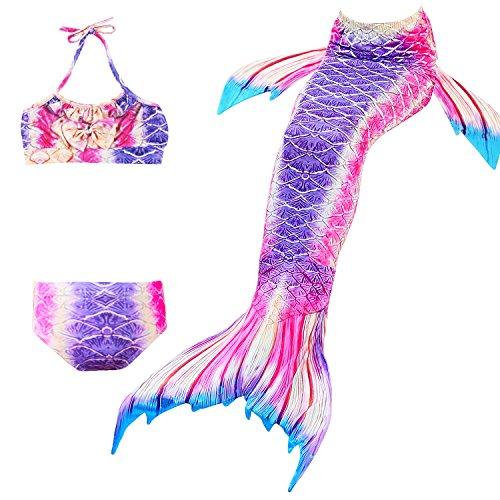 Das beste Mädchen Meerjungfrauen Bikini Kostüm Meerjungfrau Schwimmanzug Badeanzüge Tankini (110, 19)
