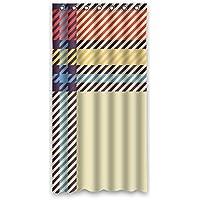"90cm x183cm (36""x72) cuarto de baño cortina de ducha universal, Grid abstracto personalizado Cortina de ducha de tela (poliéster impermeable moho, poliéster, F, 36"" x 72"""