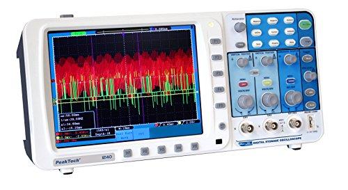 PeakTech 2-Kanal 60MHz Digital Speicheroszilloskop mit 20cm Farb-TFT Anzeige - 500MS/S - mit Lan Netzwerkanschluss / USB Schnittstelle / VGA Schnittstelle, 1 Stück, P 1240