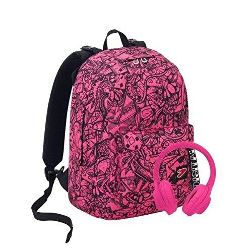 Zaino scuola seven digital double project reversibile fucsia rosa fluo nero originale nuova collezione + cuffie omaggio + omaggio penna + omaggio segnalibro