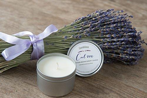 Lavendel Bio Aromatherapie Soja Kerze in Dose Sojawachs mit echtem ätherischen Lavendel Geschenk Travel Kerze 15 Std. Brenndauer - 3