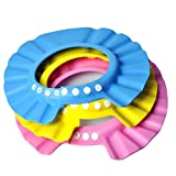 3 PC wasserdichte Dusche-Kappe Badekurort-Dusche-Hut-Dusche-Badeschutz-weiche Kappe für Kind-Baby-Kinder (Rosa, Blau, Gelb)