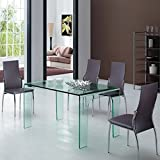 Group Design Fixed Transparent Glass Table Spider - Living Room, 15 mm Thick, Dining Table