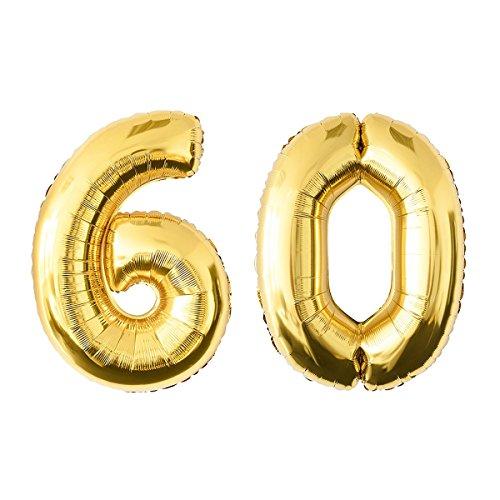 NUOLUX Foil Balloons Número de Oro 60o Balloon Party Festival Decoraciones Cumpleaños Aniversario Jumbo Photo Props 52.49 Inch