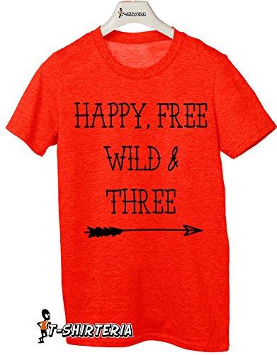 Tshirt Happy, free, wild e three - idea regalo per compleanno - Tutte le taglie by tshirteria Rosso