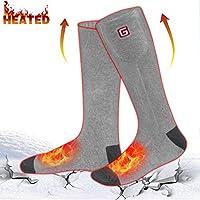 Calcetines calentados eléctricos recargables de Svpro calcetines térmicos cómodos con pilas, calcetines termales del tiempo