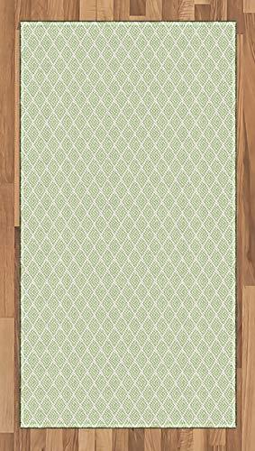 ABAKUHAUS Retro Teppich, Wirbeln Squares Verziert, Deko-Teppich Digitaldruck, Färben mit langfristigen Halt, 80 x 150 cm, Lindgrün Weiß -
