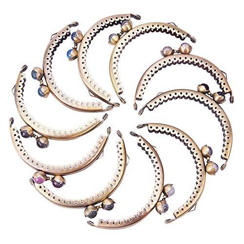PH PandaHall pandahall Elite 10Pcs Handtasche Kiss Verschluss Lock Metall Arch Rahmen Silber Ton Gemischt Ball Bronze Tone -