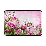 Badteppich, Schmetterling Floral Print rutschfeste Antischimmel-Einfach Dry Fußmatte Teppich für Dusche Raum Badezimmer Tür Indoor Outdoor 58,4x 38,1cm