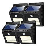 Solarleuchten Außen, (4 Stück) Yacikos 40 LED Solarlampe mit Bewegungsmelder Solar Wandleuchte Solarlicht Wasserdichte Solar Beleuchtung Solarbetriebene Kabelloses Sicherheitslicht für Gärten,Patio