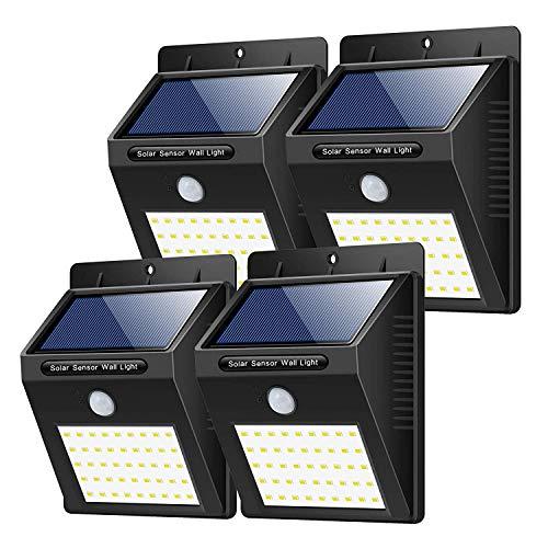 Luce Solare da Esterno, Yacikos [4 Pezzi] 40 LED Lampada Solare con Sensore di Movimento Luci Solari Parete Lampada Solare Impermeabile Solare Esterno per Giardino, Vialetto, Percorso e Cortile