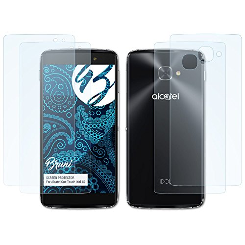 Bruni Schutzfolie für Alcatel One Touch Idol 4S Folie, glasklare Displayschutzfolie (2er Set)