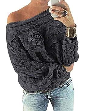 [Patrocinado]Suéter Mujer,ZARLLE Moda Oferta Liquidación Suéter Manga Larga con Tiras de Flores para Mujer Prendas de Punto...