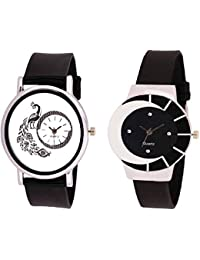 Xforia Women Watch Rubber Band Black Dial Watches For Girl (Pack Of 2 VS-FLX-938)